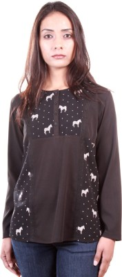 AR2 Casual Full Sleeve Solid, Printed Women's Black Top