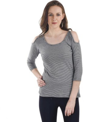 Ausehen Casual 3/4 Sleeve Striped Women's Grey Top