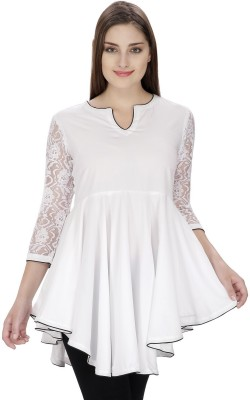 Pops N Pearls Casual 3/4 Sleeve Solid Women's White Top