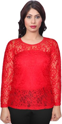 Selfcare Casual Full Sleeve Self Design Women's Red Top