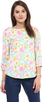AROVI Casual 3/4 Sleeve Floral Print Women's Multicolor Top