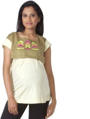 Morph Maternity Casual Short Sleeve Printed Women's Green, Yellow Top