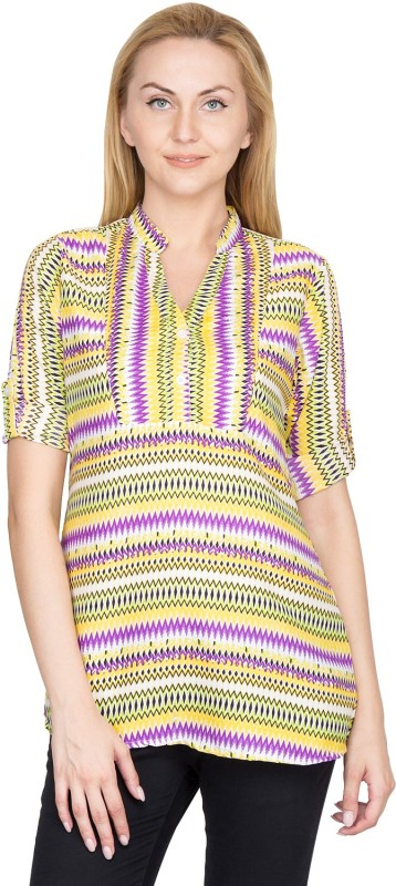 Shopaholic Casual Roll-up Sleeve Printed Women's Yellow, Purple, Blue Top