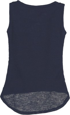 Kittybitty Party Sleeveless Self Design Baby Girl's Blue Top