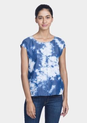 Bhane Casual Sleeveless Solid Women's White, Dark Blue Top