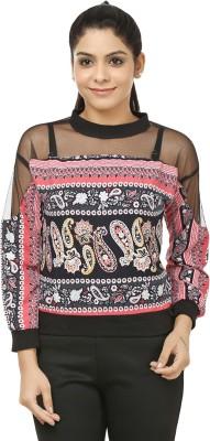 Jappshop Casual Full Sleeve Printed Women's Pink, Black Top
