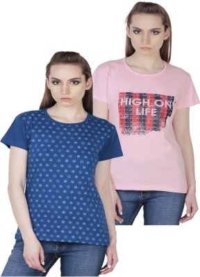 Fashionable Casual Short Sleeve Self Design Girl,s Pink, Blue Top