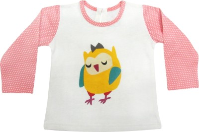 Always Kids Casual, Party Full Sleeve Printed Girl's White, Pink Top