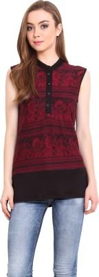 Femenino Casual Sleeveless Printed Women's Black Top