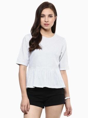 American Swan Casual Short Sleeve Printed Women's White Top