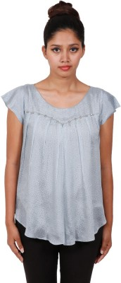 Aggana Casual Cape Sleeve Solid Women's Grey Top