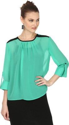 Pour Femme Casual 3/4 Sleeve Solid Women's Green Top