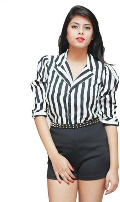 Fadjuice Women's Striped Casual Black, White Shirt