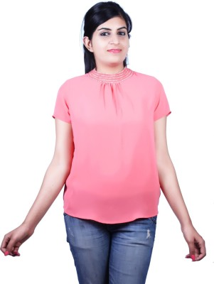 Kashana Fashions Party Short Sleeve Solid Women's Pink Top
