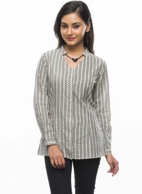 Moda Vastra Formal Full Sleeve Printed Women's Grey Top