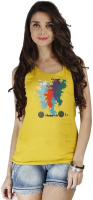 Chlorophile Casual Sleeveless Printed Women's Yellow Top