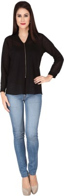 SOIE Casual Full Sleeve Solid Women's Black Top