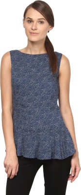 Annapoliss Casual Sleeveless Printed Women's Dark Blue, Brown Top
