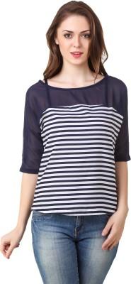 Big Pout Casual, Party, Festive, Beach Wear 3/4 Sleeve Striped Women's Blue Top