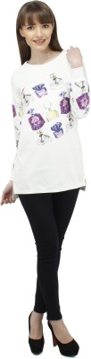 Pab Jules Casual Full Sleeve Printed Women's White Top