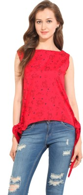 Albely Casual Sleeveless Printed Women's Red Top