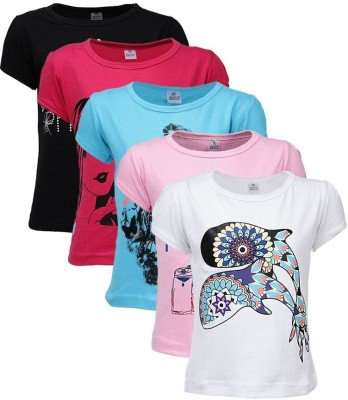 Gkidz Graphic Print Girl's Round Neck Multicolor T-Shirt