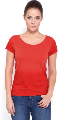 Roadster Casual Short Sleeve Solid Women's Red Top