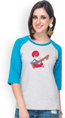 Campus Sutra Casual 3/4 Sleeve Printed Women's Grey, Light Blue Top