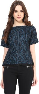 Abiti Bella Party Short Sleeve Printed Women's Blue Top at flipkart