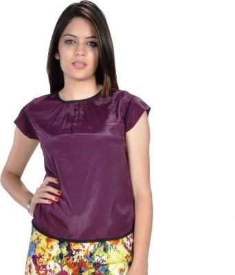 Hugo Chavez Casual Short Sleeve Solid Women's Purple Top