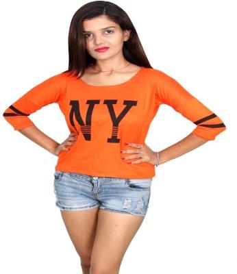 Vanya Enterprises Casual Full Sleeve Printed Women's Orange, Black Top