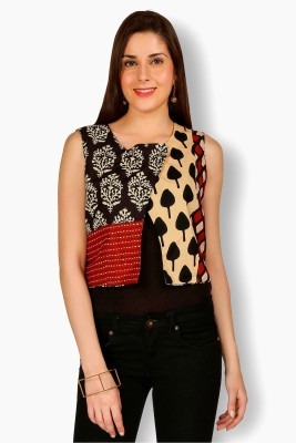 Free Spirited Casual Sleeveless Printed Women's Red, Black Top