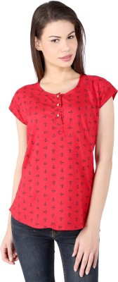 pinklady Casual Short Sleeve Printed Women's Red Top