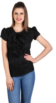 eyelet Casual, Party, Lounge Wear Balloon Sleeve Solid Women's Black Top