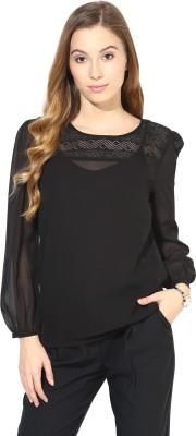 La Zoire Formal, Party Full Sleeve Solid Women's Black Top