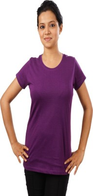 Indophile - Natural Fashion Casual Short Sleeve Solid Women's Purple Top