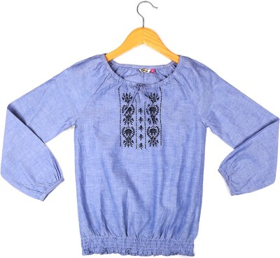 People Casual 3/4 Sleeve Solid Girl's Blue Top