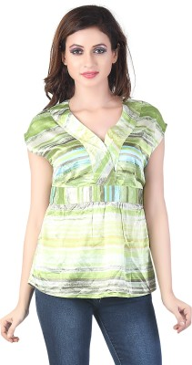 Bfly Casual Short Sleeve Printed Women's Green Top
