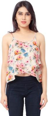 Urban Fashion Bank Casual, Party, Festive, Lounge Wear Noodle strap Floral Print Women's White Top