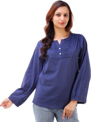 Akshat International Casual Full Sleeve Solid Women's Blue Top