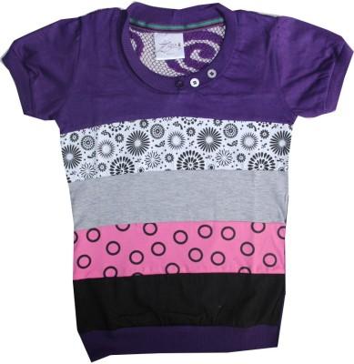 Kidsmasthi Casual Short Sleeve Printed Girl's Purple Top