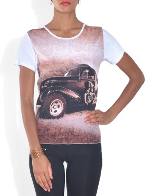 Lotsa Fashion Casual Short Sleeve Graphic Print Women's White Top