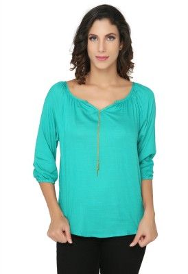 Philigree Casual 3/4 Sleeve Solid Women,s Dark Green Top