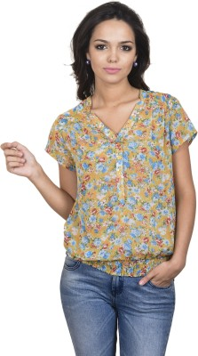 Antilia Femme Casual Short Sleeve Printed Women's Yellow Top