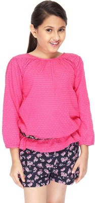 Citypret Casual Full Sleeve Solid Girl's Pink Top