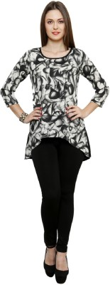 Bani Party, Festive 3/4 Sleeve Self Design Women's Black Top