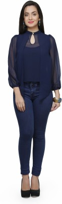 V&M Casual Puff Sleeve Solid Women's Dark Blue Top