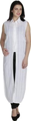 Ashtag Casual Sleeveless Self Design Women's White Top