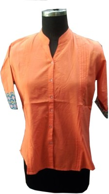 V.K TRADERS Casual 3/4 Sleeve Self Design Women's Orange Top