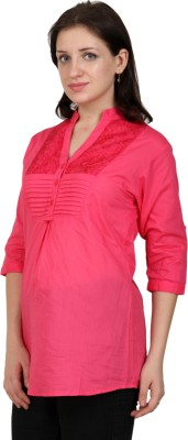 Shopaholic Casual 3/4 Sleeve Solid Women's Pink Top